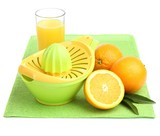 Citrus press and oranges isolated on white
