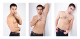 Snapshots of model. Handsome man on light background