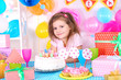 Pretty little girl celebrate her birthday