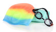 Set for pool: swim cap, goggles and towel isolated on white