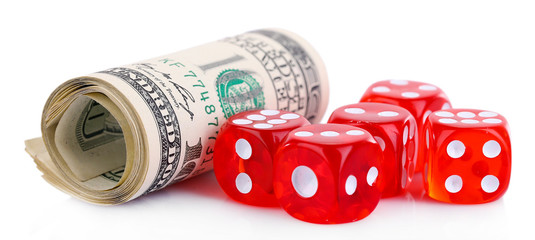 Red dices and money, isolated on white