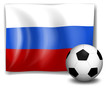 The flag of Russia at the back of a soccer ball