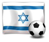 The flag of Israel at the back of a soccer ball