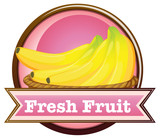 A fresh fruit label with ripe bananas