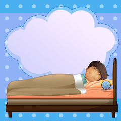 A boy sleeping soundly with an empty callout