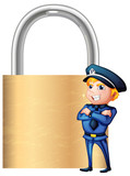 A smiling cop beside the giant padlock
