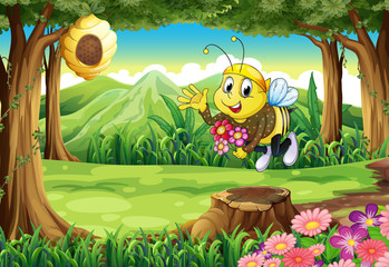 A bee at the forest with flowers
