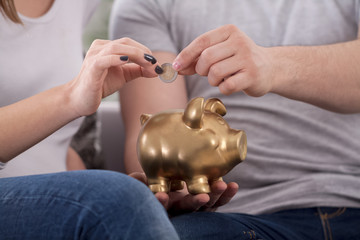 Couple saves money with piggy bank