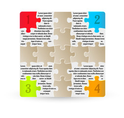 infographics - four steps with puzzle pieces