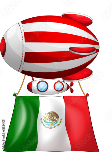 The flag of Mexico attached to a floating balloon
