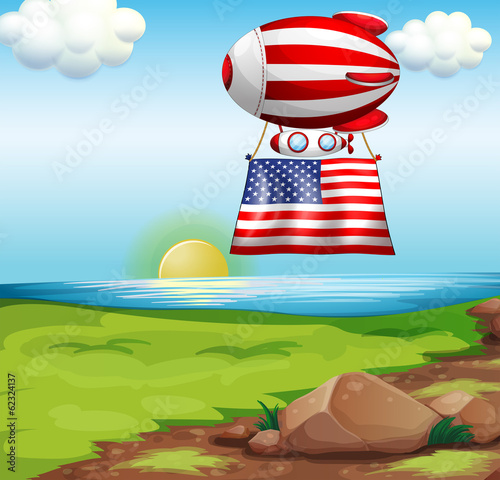 A floating balloon with the flag of the United States