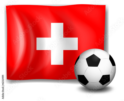 The flag of Switzerland at the back of a soccer ball