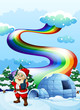 A smiling Santa near the igloo with a rainbow in the sky