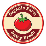 A tomato with a dairy fresh and organic farm label
