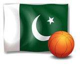 The flag of Pakistan at the back of a ball