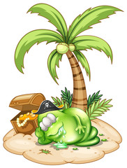 A sleeping pirate monster under the coconut tree