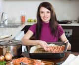 girl cooking fish pie with salmon