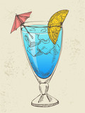 Hand drawn illustration of blue cocktail with ice.
