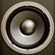 Close up of a stereo audio loudspeaker with a nice finish. This - 62325379