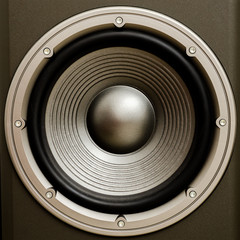 Close up of a stereo audio loudspeaker with a nice finish. This