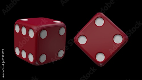 Red Casino Dice Black Background