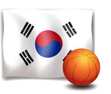 The flag of Korea at the back of a ball