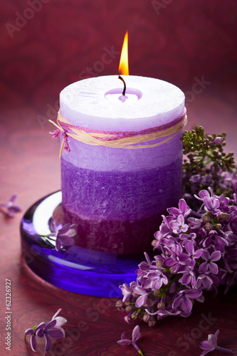 Candle and lilac