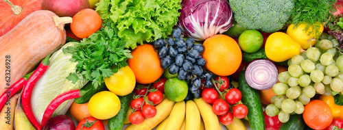 Foto Spatwand Eten fresh fruits and vegetables