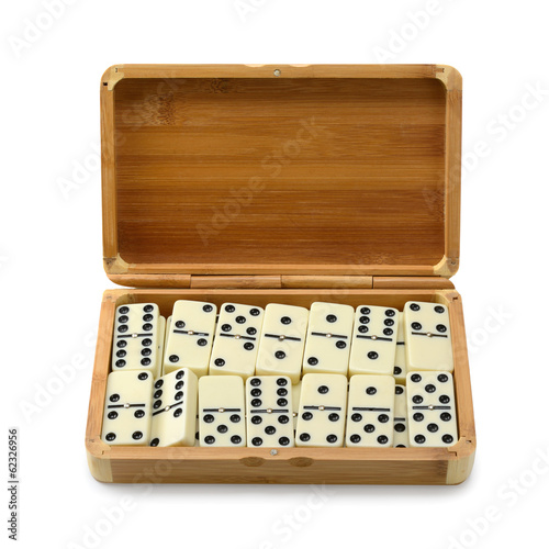 domino in box isolated on white background