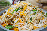Fried rice noodles with bean sprouts.