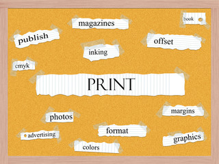 Print Corkboard Word Concept
