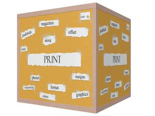 Print 3D cube Corkboard Word Concept