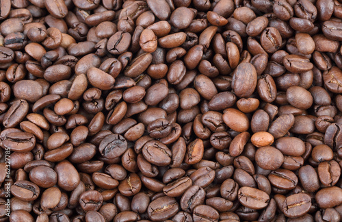 Agriculture, closeup of roasted coffee beans background