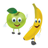 3D Set of Vector Fruits. Apple, Banana