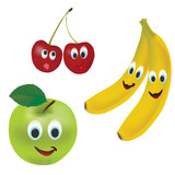 Set of Vector Fruits. Apple, Banana and Cherries