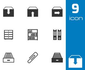 Vector black archive icons set