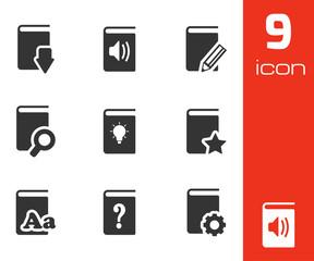 Vector black books icons set
