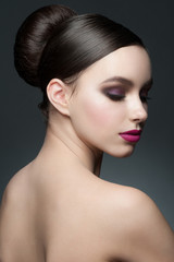 Woman with makeup and hairstyle