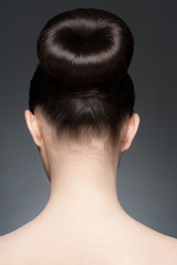 Brunette with elegant hairstyle