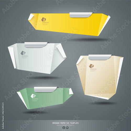 Origami colorful paper cuts collections background