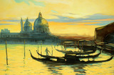 Landscape with gondolas to Venice, painting, an illustration