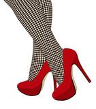 The checkered fishnet stockings