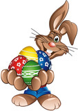 Happy Easter Rabbit holding eggs