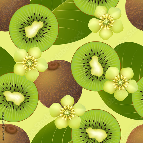 Fruity seamless pattern with kiwi fruit
