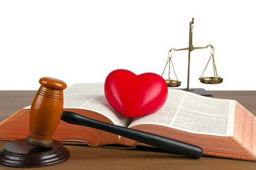 Mallet, legal code, heart and scales of justice