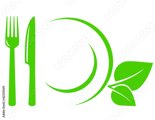 vegetarian icon with leaves, fork and knife - 62330369