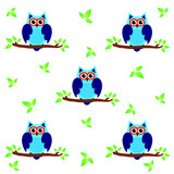Vector pattern with cute owls