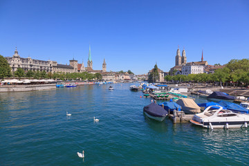 Zurich cityscape, view along the Limmat river