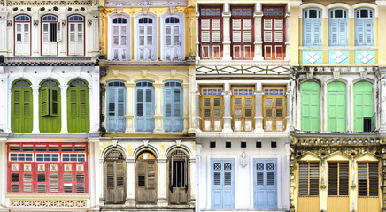 Collage of the unique windows. Georgetown, Malaysia