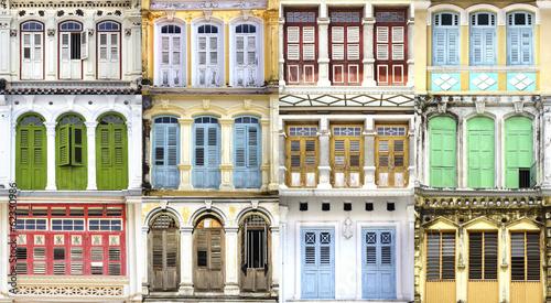 Fototapeta Collage of the unique windows. Georgetown, Malaysia